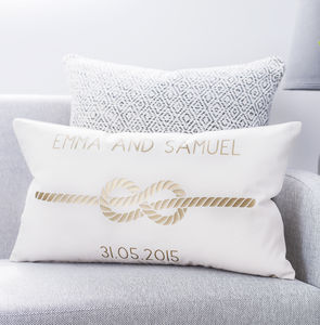Personalised Infinity Love Knot Cushion - 2nd anniversary: cotton