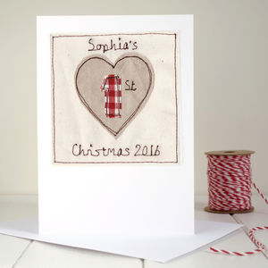 Personalised Heart 1st Christmas Card - birthday cards