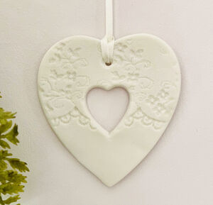 White Porcelain Cut Out Heart Decoration