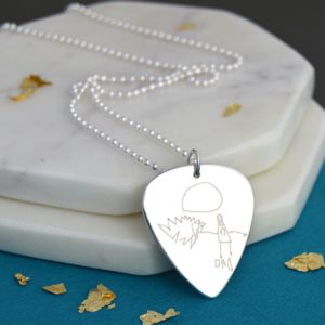 Engraved Artwork Guitar Plectrum Necklace - men's jewellery