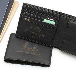 Luxury Leather Personalised Drawing And Message Wallet