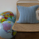 Strikk Hand Knit Twisted Cable Cushion In Light Blue