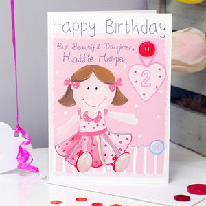 Personalised Rag Doll Relation Birthday Card