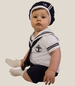 Baby Boy Sailor All In One Romper Outfit With Hat