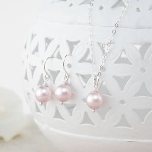 Alexia Pink Pearl Pendant And Earring Set - wedding jewellery