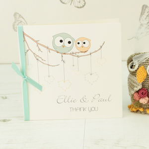 10 Personalised Owls Thank You Cards