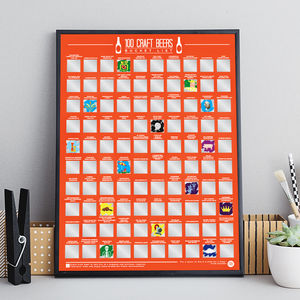 100 Craft Beer Scratch Off Bucket List Poster - for him