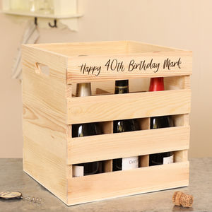 Wine Lover's Personalised Wooden Bottle Crate - drink & barware
