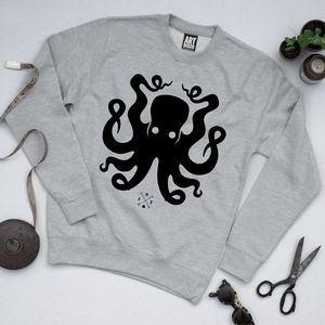 'Squid Ink' Octopus Unisex Sweatshirt - sweatshirts & hoodies