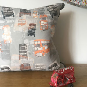 Linen London Bus Cushion - patterned cushions