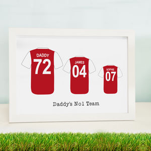 Personalised Father Son Football Shirt Print - prints & art sale