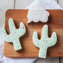 'Let's Stick Together' Cactus Biscuits