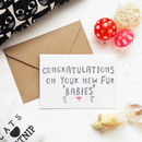 Congratulations New Pet Kitten Fur Baby Card