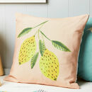 Lemon Print Linen Cushion