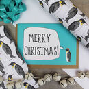 Luxury Penguin Gift Wrap And Card Set