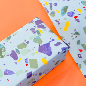 Blue Terrazzo Wrapping Paper Set