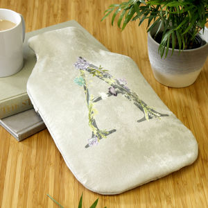 Personalised Name Floral Letter Hot Water Bottle - whatsnew