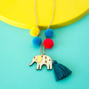 Elephant And Pom Pom Sweet Thing Necklace - necklaces & pendants