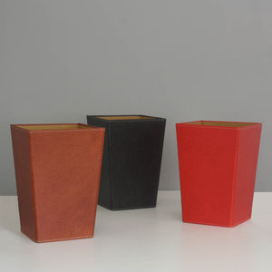 Recycled Leather Effect Waste Paper Bin Large - wastepaper bins