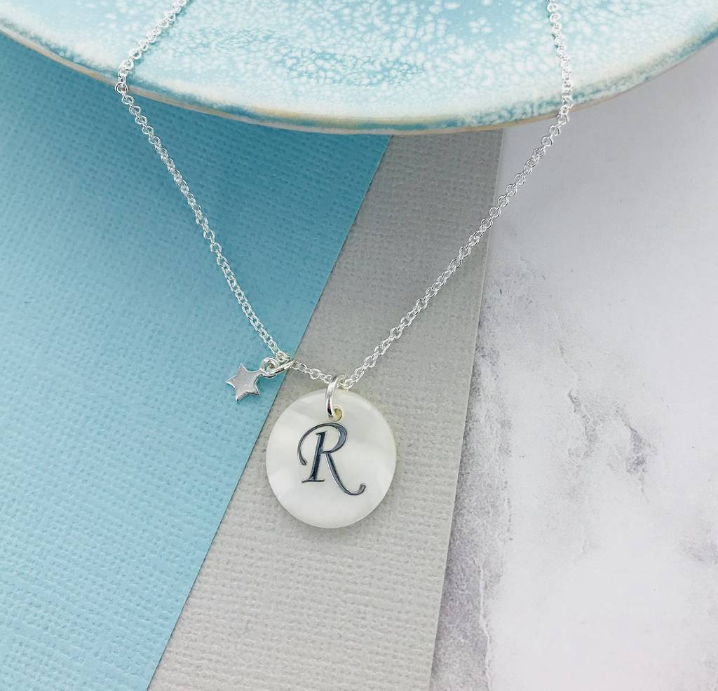 Silver Initial Shell Necklace