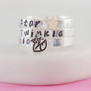 Personalised Starry Foxes Stacking Ring