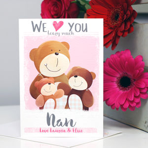 Personalised Love You Beary Much Nanny Card