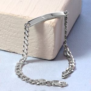 Silver Chain Identity Bracelet - men's jewellery