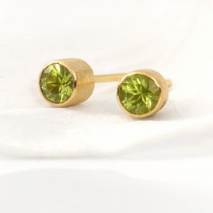 Handmade Peridot 18ct Gold Stud Earrings - precious gemstones