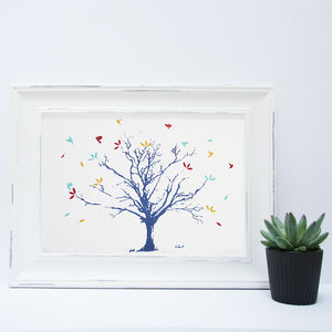 Autumn Tree And Leaves Screen Print - posters & prints