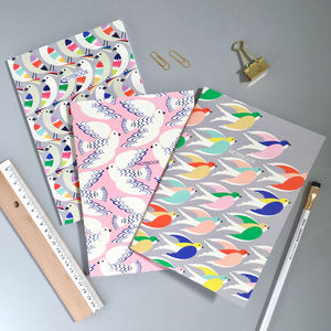 Three Bird Printed Notebooks, Gift Set