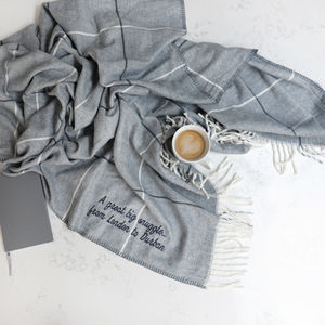 Personalised Grey Stripy Throw - blankets & throws