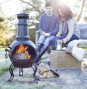 Steel Chiminea With Grill - picnics & barbecues