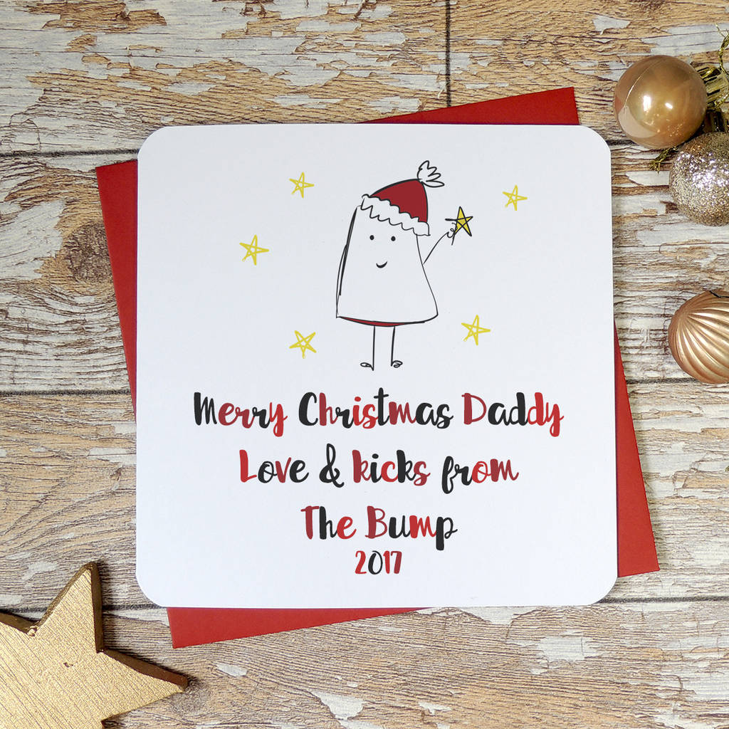 Personalised Merry Christmas Daddy From The Bump Card By