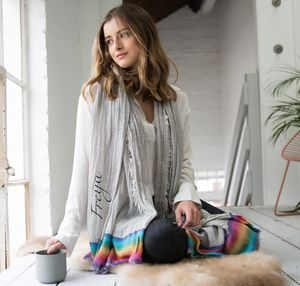 Personalised Rainbow Edged Grey Scarf - personalised gifts