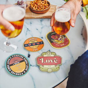Set Of Four Personalised Couples Retro Style Beer Mats