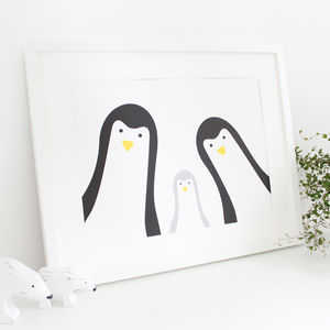 Penguin Family Selfie, Personalised A3 Print - prints & art sale