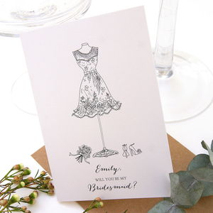 Will You Be My Bridesmaid Personalised Card - be my bridesmaid?