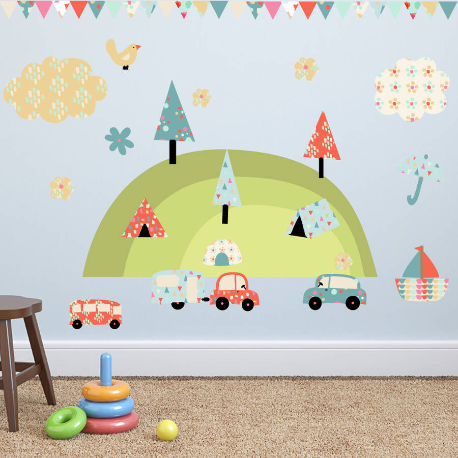 camping holiday wall stickers by parkins interiors new holiday bows wall decals green amp red christmas