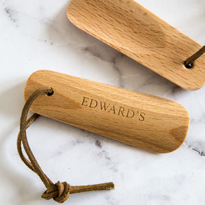 Personalised Beech Wood And Leather Shoe Horn