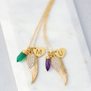 Angel Wing Cluster Charm Necklace
