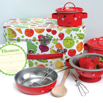 Personalised Childrens Fruit And Veg Cookery Set