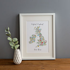 Personalised Floral Map Of The British Isles Print - housewarming gifts