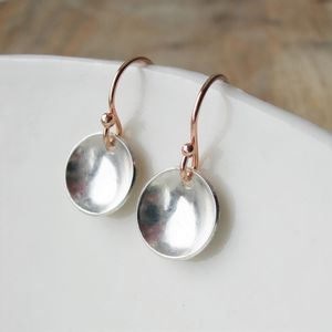 Curved Silver And Rose Gold Earrings - earrings
