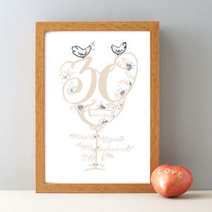 30th Anniversary Personalised Pearl Wedding Print - dates & special occasions