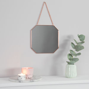 Octagon Copper Mirror - bedroom