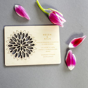 Wooden Wedding Invitation With Flower Coaster - invitations
