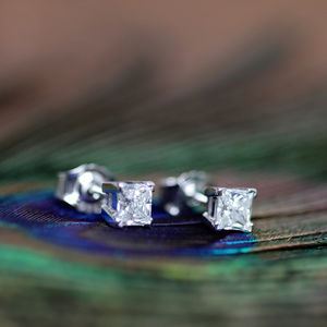 Diamond Solitaire Earrings - earrings