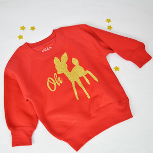 'Oh Deer' Personalised Christmas Deer Sweatshirt - christmas jumpers