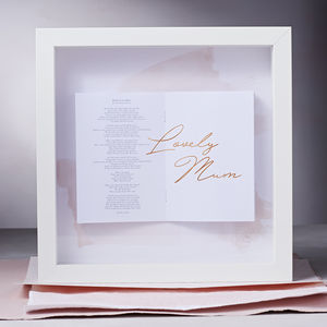 Personalised For Mum Lyric Framed Songbook - wedding gifts