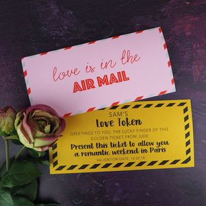 Valentine Card With Personalised Love Token - gifts